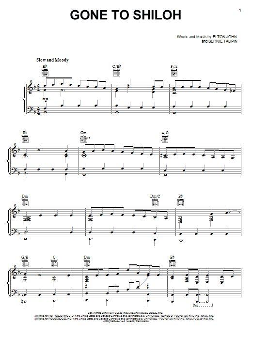 Gone To Shiloh (Piano, Vocal & Guitar (Right-Hand Melody))