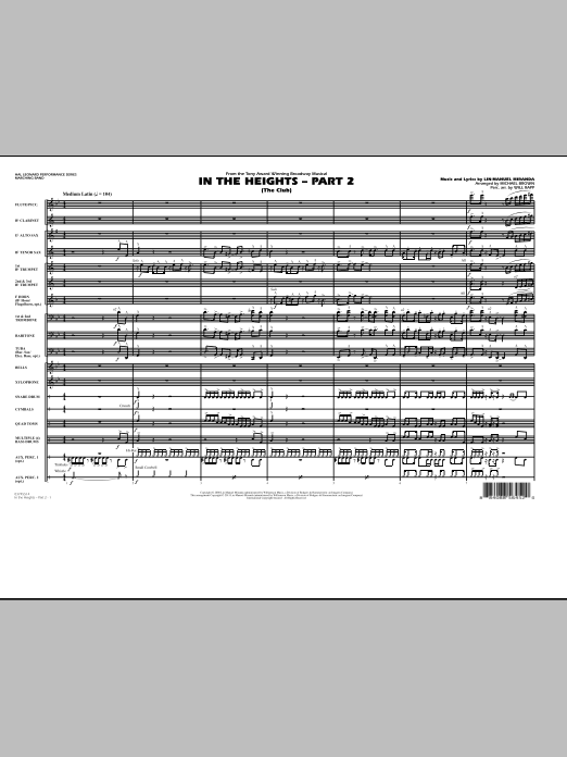 In The Heights: Part 2 (The Club) (COMPLETE) sheet music for marching band by Lin-Manuel Miranda, Michael Brown and Will Rapp. Score Image Preview.