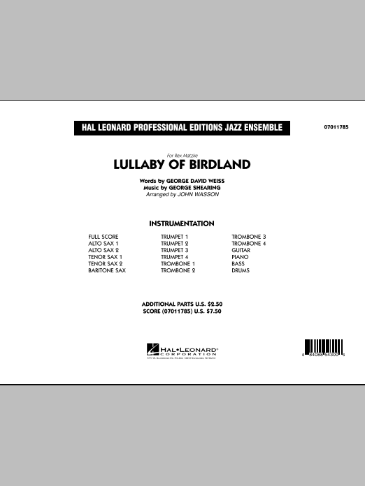 Lullaby Of Birdland (COMPLETE) sheet music for jazz band by John Wasson, George David Weiss and George Shearing. Score Image Preview.