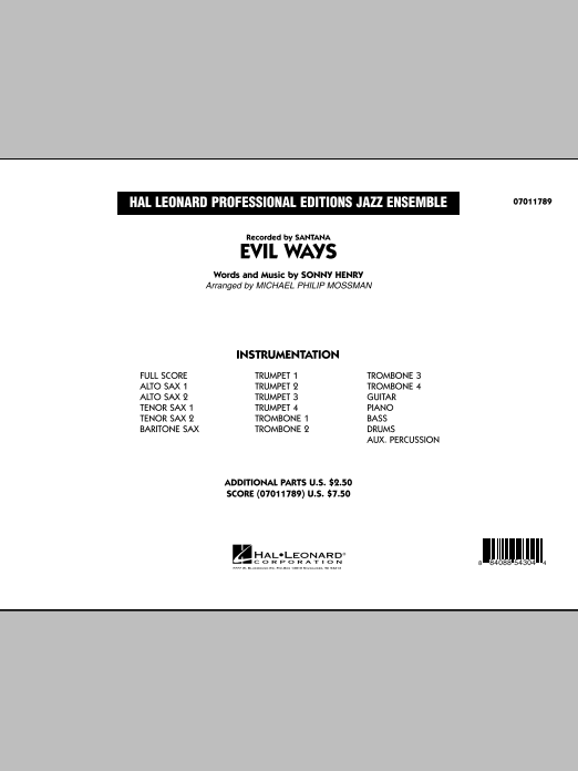 Evil Ways (COMPLETE) sheet music for jazz band by Michael Philip Mossman and Carlos Santana. Score Image Preview.