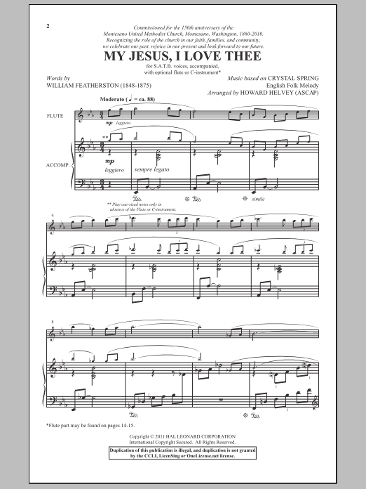 My Jesus, I Love Thee (arr. Howard Helvey) Sheet Music