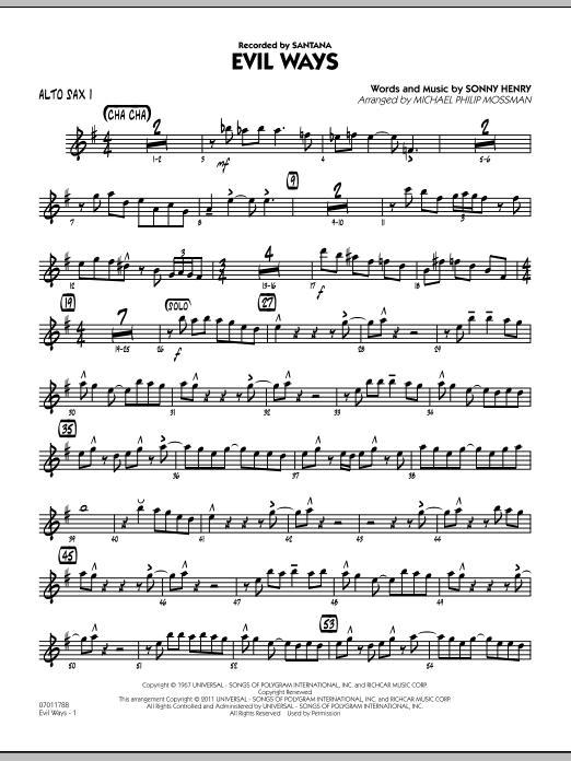 Evil Ways - Alto Sax 1 (Jazz Ensemble)
