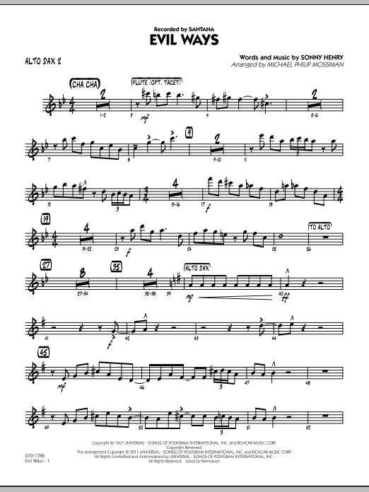 Evil Ways - Alto Sax 2 (Jazz Ensemble)