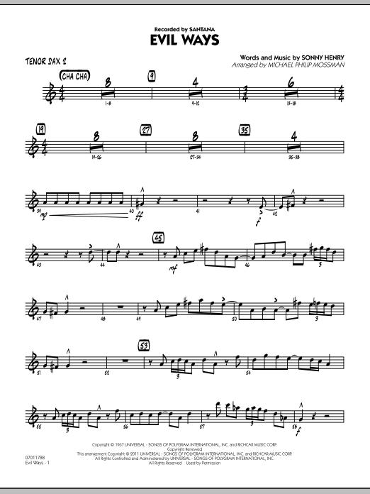 Evil Ways - Tenor Sax 2 (Jazz Ensemble)