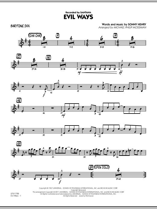 Evil Ways - Baritone Sax (Jazz Ensemble)