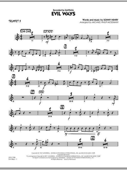 Evil Ways - Trumpet 3 (Jazz Ensemble)