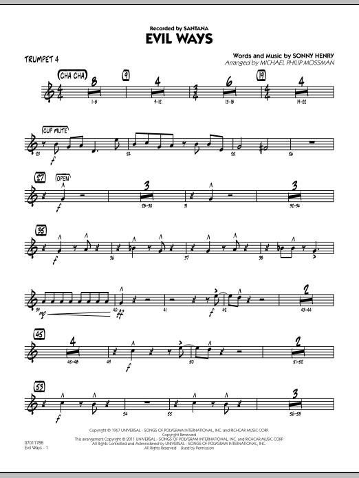 Evil Ways - Trumpet 4 (Jazz Ensemble)