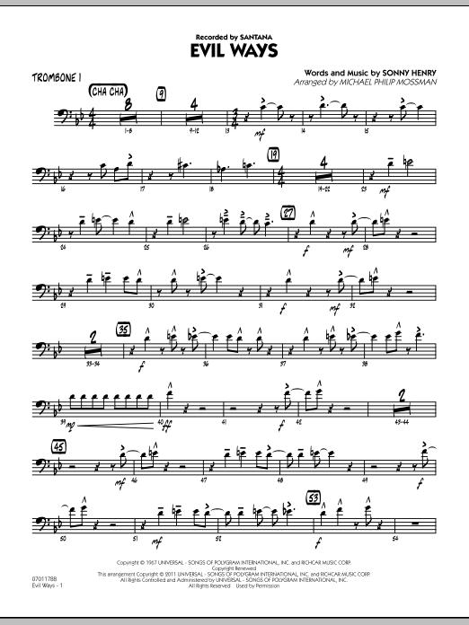 Evil Ways - Trombone 1 (Jazz Ensemble)