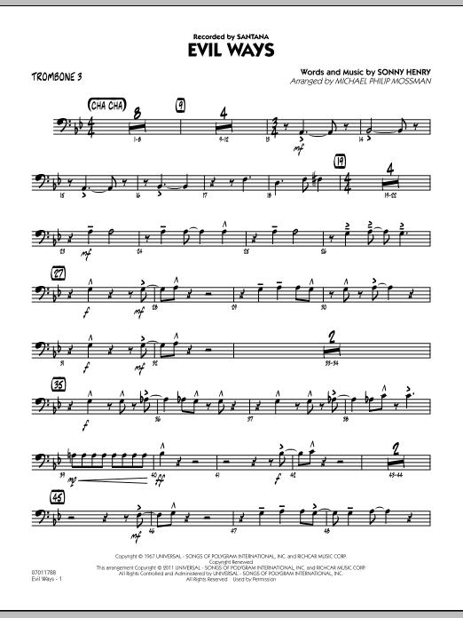 Evil Ways - Trombone 3 (Jazz Ensemble)