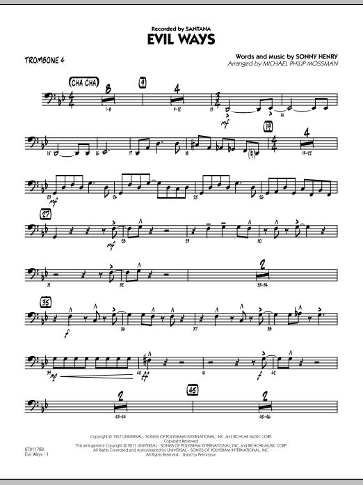 Evil Ways - Trombone 4 (Jazz Ensemble)