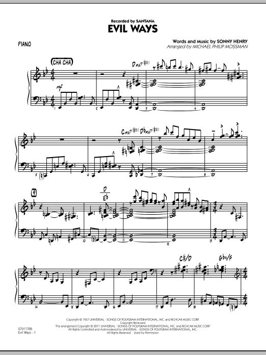 Evil Ways - Piano (Jazz Ensemble)