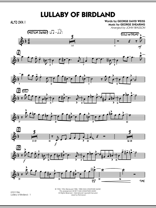 Lullaby Of Birdland - Alto Sax 1 (Jazz Ensemble)