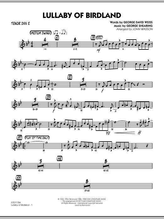 Lullaby Of Birdland - Tenor Sax 2 (Jazz Ensemble)