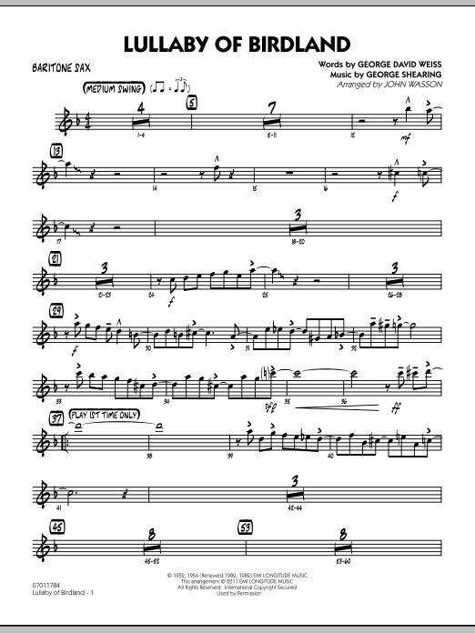 Lullaby Of Birdland - Baritone Sax (Jazz Ensemble)