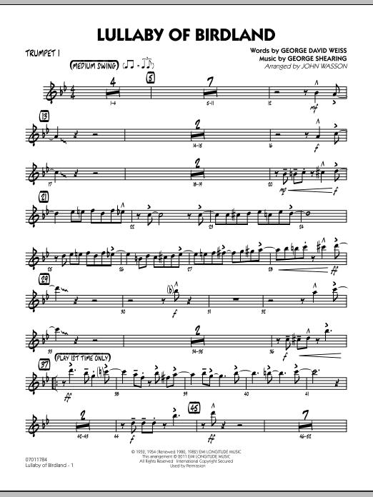 Lullaby Of Birdland - Trumpet 1 (Jazz Ensemble)