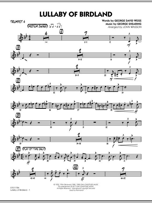 Lullaby Of Birdland - Trumpet 4 (Jazz Ensemble)