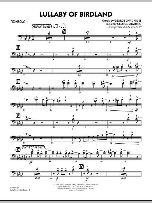 Lullaby Of Birdland - Trombone 1 (Jazz Ensemble)