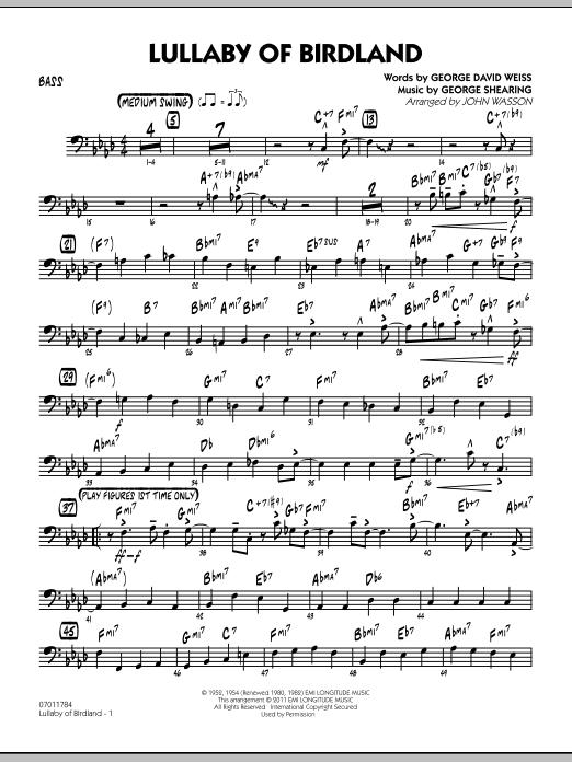 Lullaby Of Birdland - Bass (Jazz Ensemble)