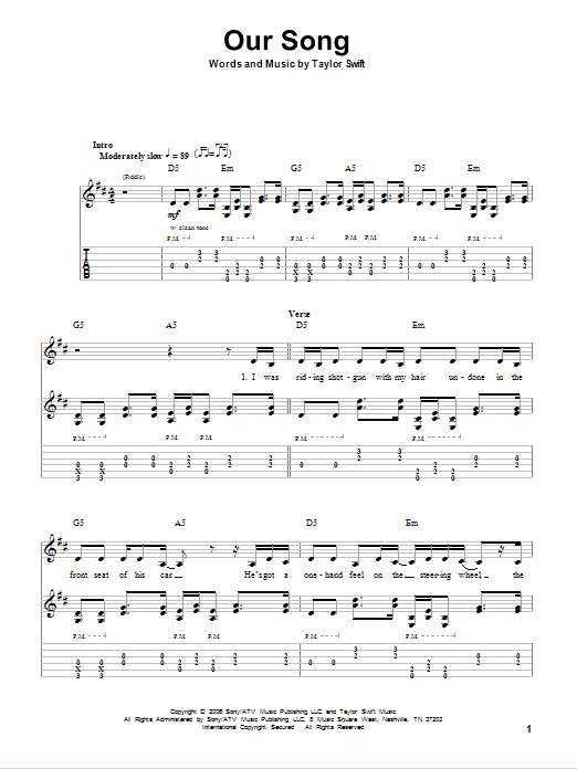 Tablature guitare Our Song de Taylor Swift - Autre