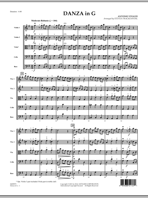 Danza In G (COMPLETE) sheet music for orchestra by Steve Frackenpohl and Antonio Vivaldi. Score Image Preview.