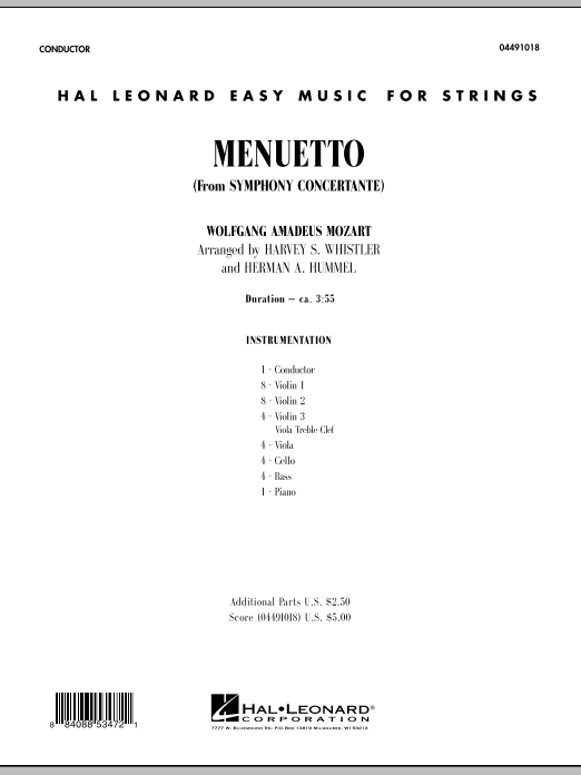 Menuetto (from Symphony Concertante) (COMPLETE) sheet music for orchestra by Harvey Whistler, Herman Hummel and Wolfgang Amadeus Mozart. Score Image Preview.