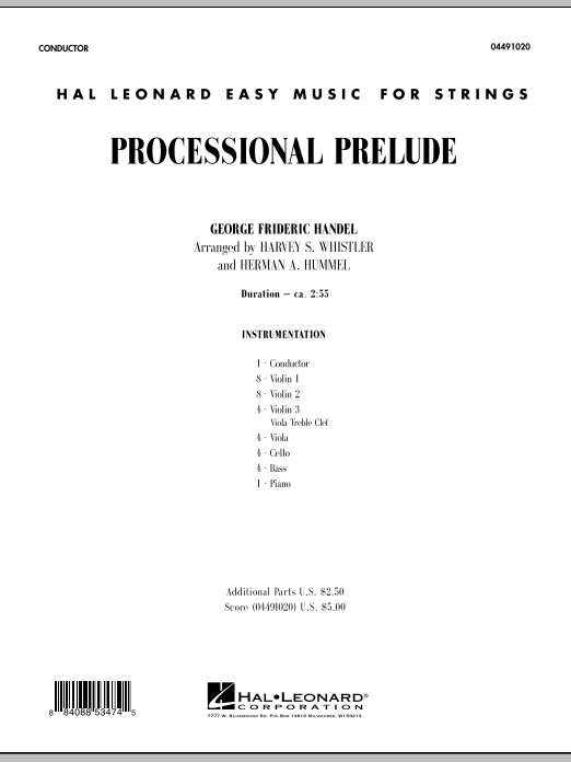 Processional Prelude (COMPLETE) sheet music for orchestra by Harvey Whistler, George Frideric Handel and Herman Hummel. Score Image Preview.