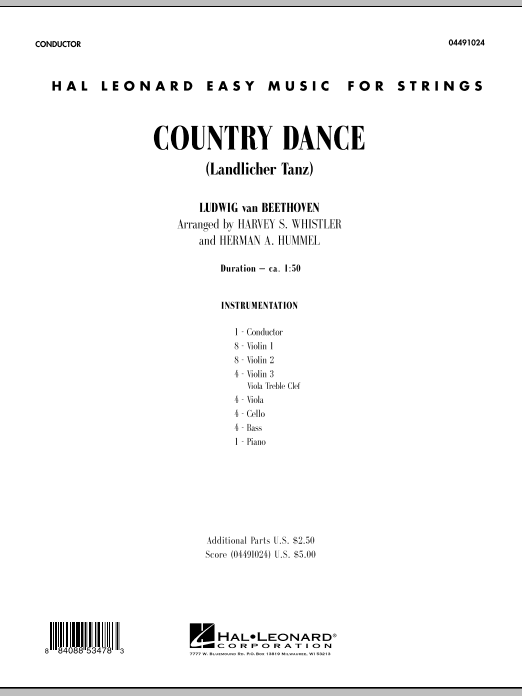 Country Dance (Landlicher Tanz) (COMPLETE) sheet music for orchestra by Harvey Whistler, Herman Hummel, Ludwig van Beethoven and Robert Schumann. Score Image Preview.