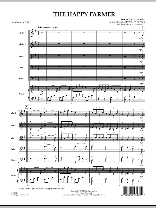 The Happy Farmer (COMPLETE) sheet music for orchestra by Robert Schumann. Score Image Preview.