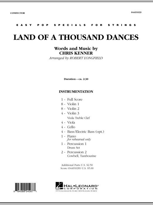 Land Of A Thousand Dances (COMPLETE) sheet music for orchestra by Robert Longfield, Chris Kenner and Wilson Pickett. Score Image Preview.