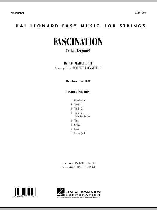 Fascination (Valse Tzigane) (COMPLETE) sheet music for orchestra by Fermo Dante Marchetti and Robert Longfield. Score Image Preview.