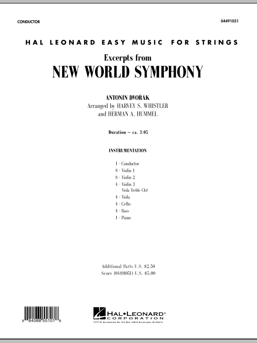 Excerpts from New World Symphony (COMPLETE) sheet music for orchestra by Harvey Whistler, Antonin Dvorak and Herman Hummel. Score Image Preview.