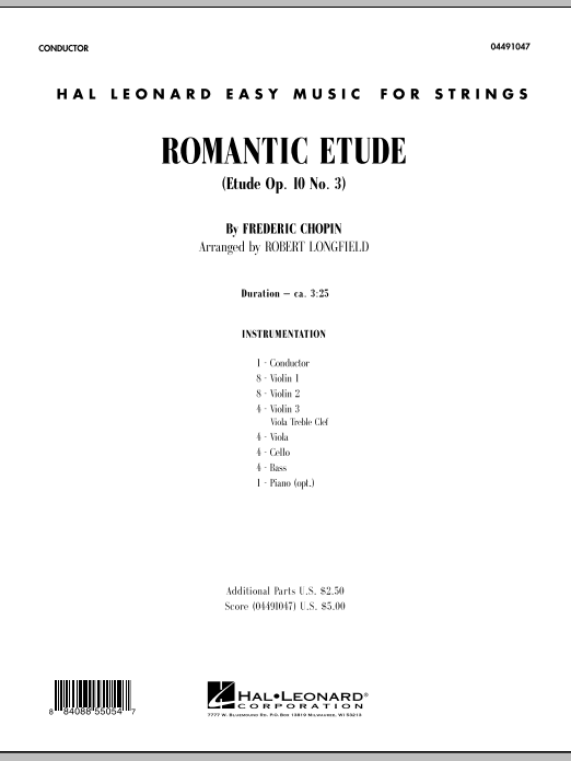 Romantic Etude (Op. 10, No. 3) (COMPLETE) sheet music for orchestra by Frederic Chopin and Robert Longfield. Score Image Preview.