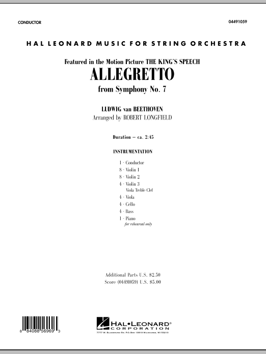 Allegretto (from Symphony No. 7) (COMPLETE) sheet music for orchestra by Robert Longfield and Ludwig van Beethoven. Score Image Preview.