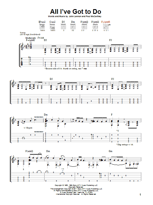 All I've Got To Do (Guitar Tab)