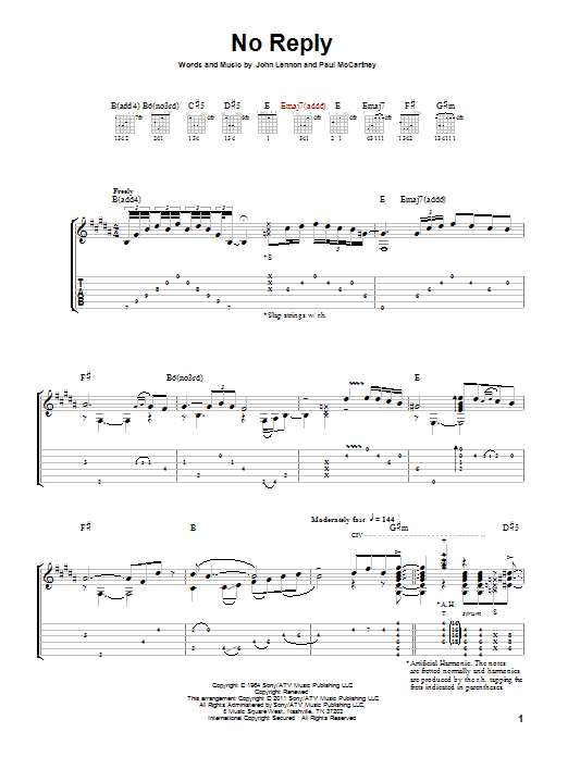 Tablature guitare No Reply de The Beatles - Tablature Guitare