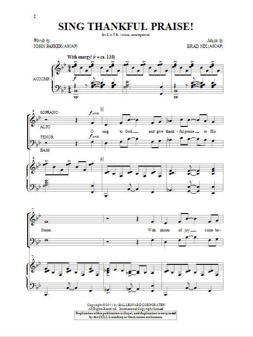 Sing Thankful Praise! Sheet Music