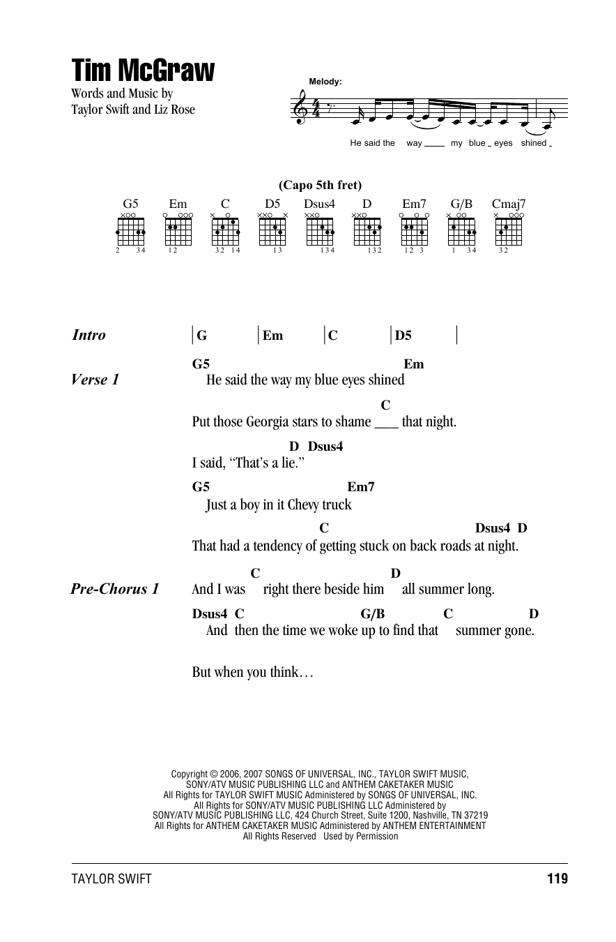 Tim McGraw Sheet Music