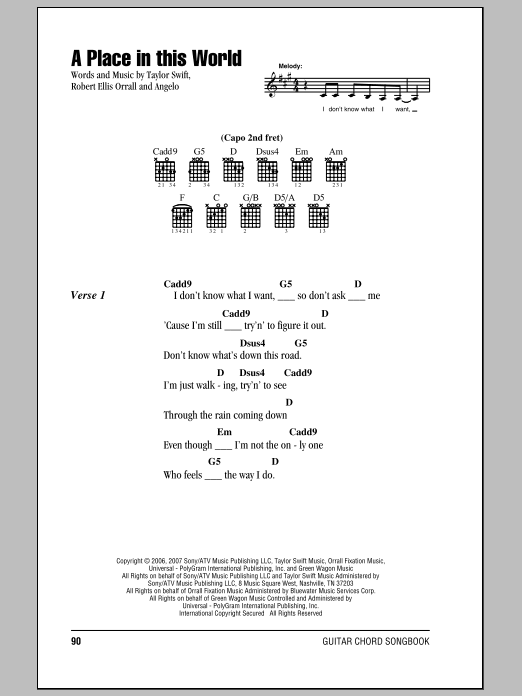 A Place In This World Sheet Music