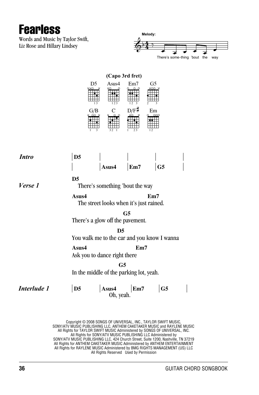 Fearless Sheet Music By Taylor Swift Lyrics Chords 81684