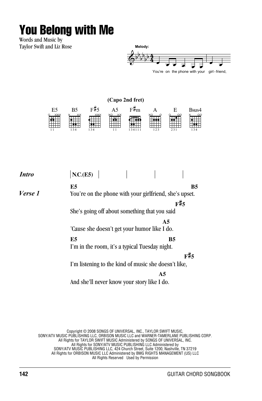 You Belong With Me By Taylor Swift Guitar Chordslyrics Guitar