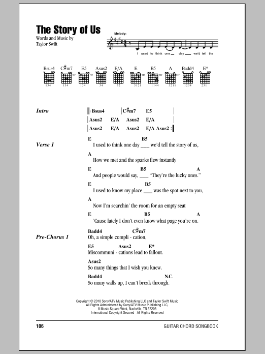 The Story Of Us sheet music by Taylor Swift (Lyrics & Chords – 81674)