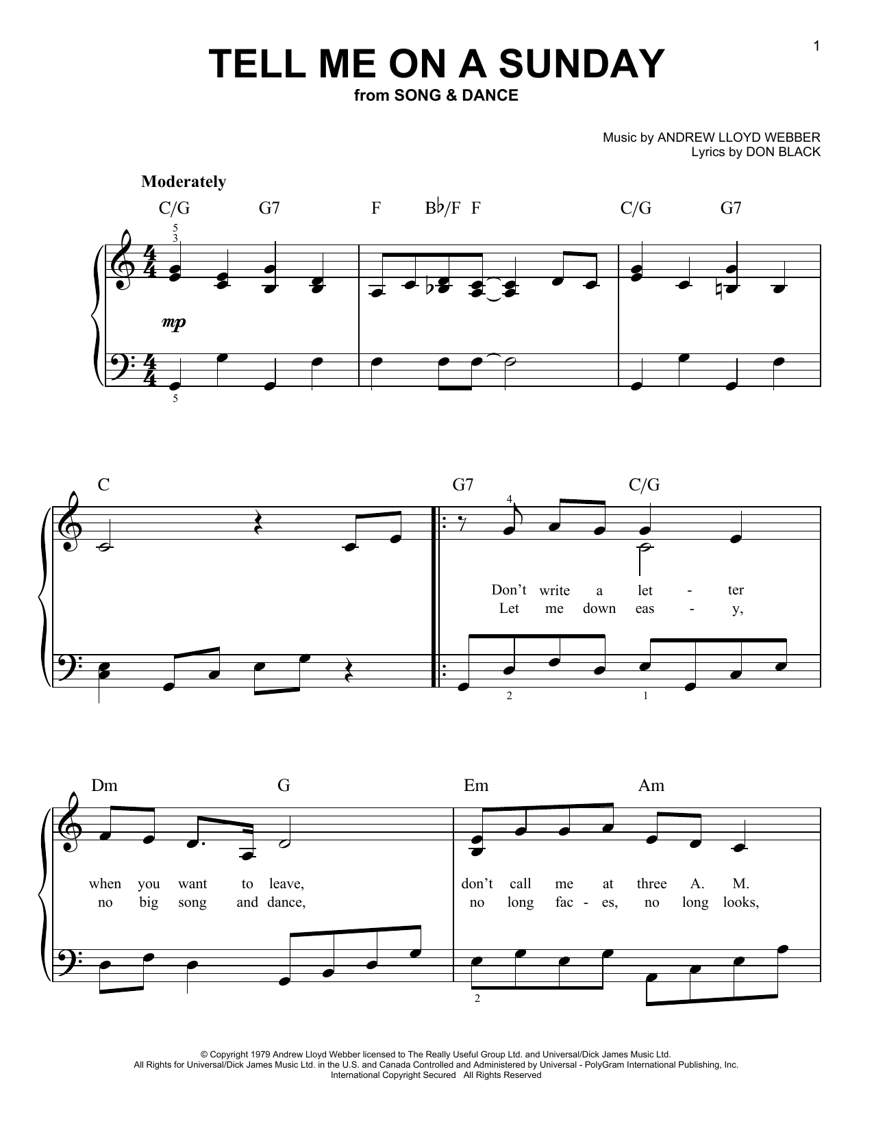 Tell Me On A Sunday Sheet Music