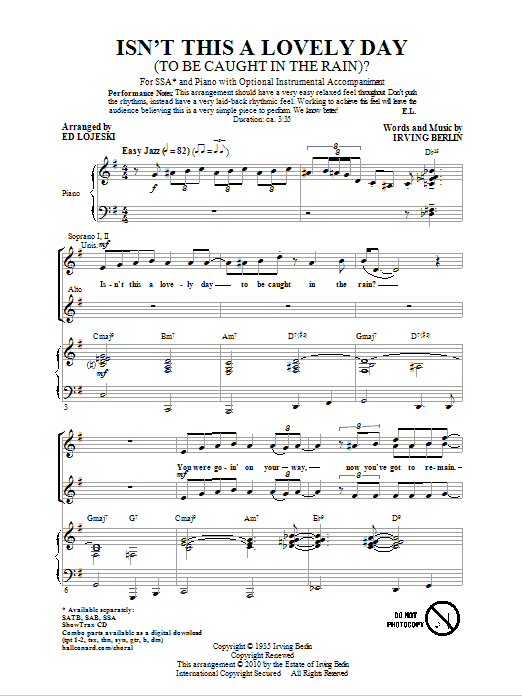 Partition chorale Isn't This A Lovely Day (To Be Caught In The Rain?) de Ed Lojeski - SSA