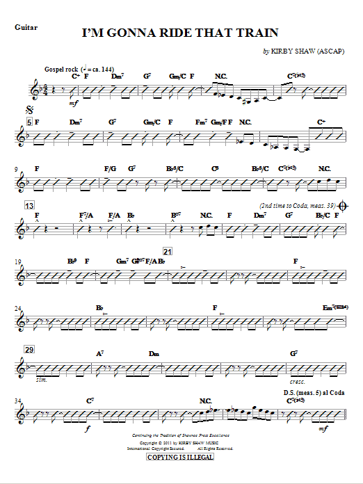 I'm Gonna Ride That Train (complete set of parts) sheet music for orchestra/band (chamber ensemble) by Kirby Shaw. Score Image Preview.