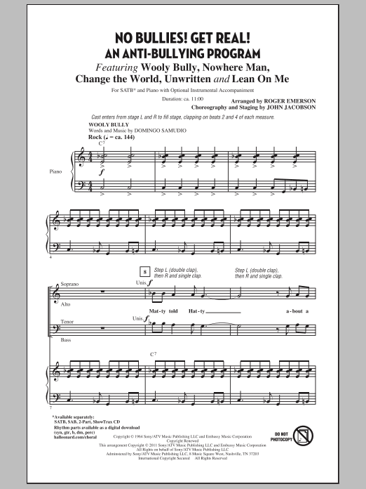 Partition chorale No Bullies! Get Real! de Roger Emerson - SATB