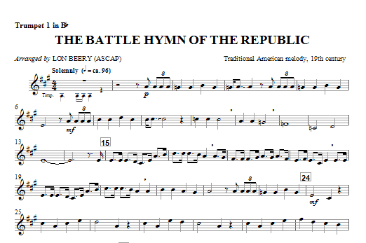 Battle Hymn Of The Republic (complete set of parts) sheet music for orchestra/band (chamber ensemble) by Lon Beery, Julia Ward Howe and William Steffe. Score Image Preview.