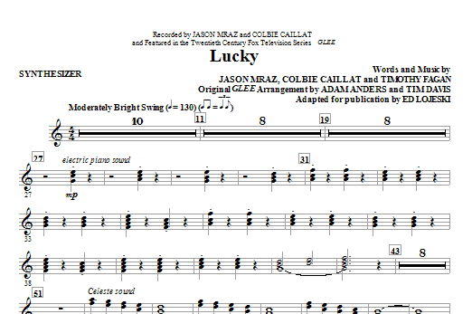 Lucky (complete set of parts) sheet music for orchestra/band (Rhythm) by Ed Lojeski, Colbie Caillat, Glee Cast, Jason Mraz, Miscellaneous and Timothy Fagan. Score Image Preview.