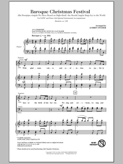 Partition chorale Baroque Christmas Festival (Medley) de Audrey Snyder - SATB