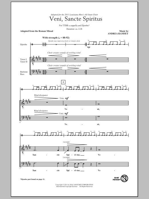 Partition chorale Veni Sancte Spiritus de Andrea Ramsey - TTBB