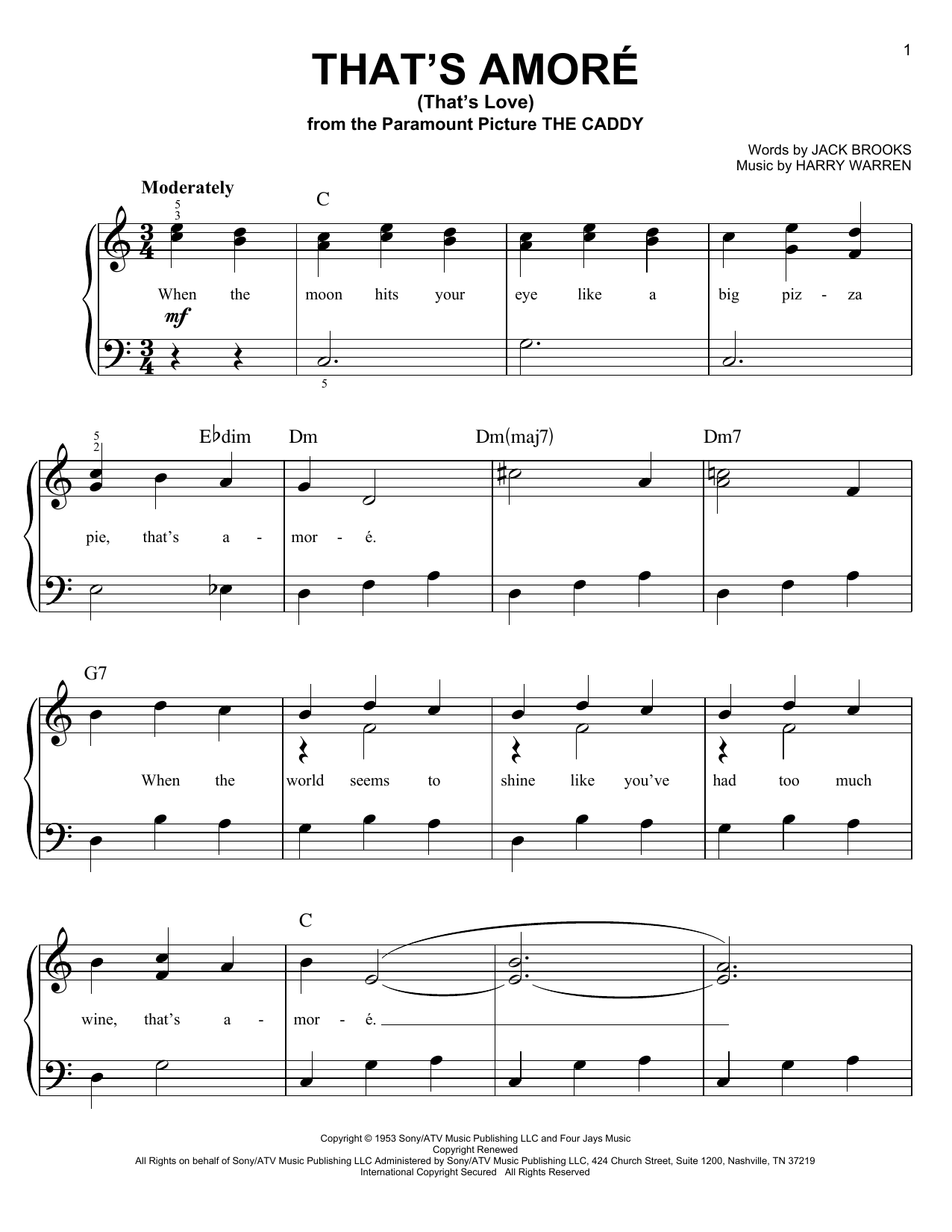 Partition piano That's Amore (That's Love) de Dean Martin - Piano Facile